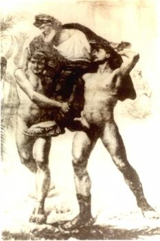 Dessin représentant Diagoras de Rhodes porté en triomphe par ses fils