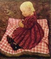 Enfant de paysan sur un coussin à carreaux rouges - Paula Modersohn-Becker