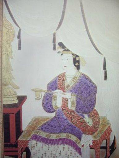 Dessin représentant l'impératrice Suiko assise