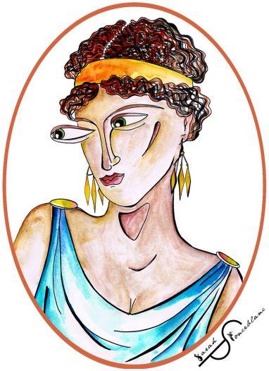 Ce dessin représente Kallipáteira vêtue d'une tunique bleue. Elle porte des boucles d'oreille, un bandeau orange dans  ses cheveux bouclés et sombres. Elle regarde vers la gauche.