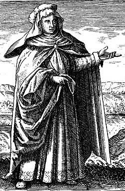 Gravure de Marie la Juive, dans le Symbola Aurea Mensae Duodecim Nationum, (1617) de l'alchimiste allemand Michael Maier.