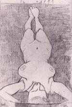 Ce dessin de Paula Modersohn-Becker représente une femme nue allongée dans l'herbe. Sa tête est au premier plan et son corps se déroule à la verticale jusqu'à ses pieds en arrière-plan.