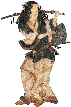 Représentation d'Okuni en costume de théâtre, avec un sabre