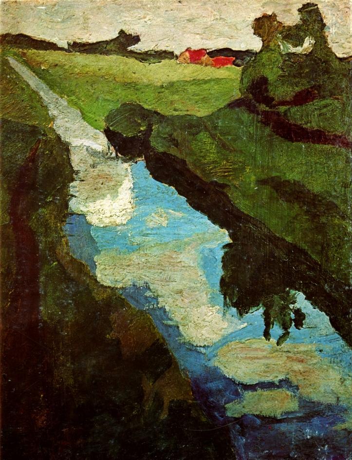 Ce tableau de Paula Modersohn-Becker représente une rivière séparant en deux un paysage verdoyant, avec quelques maisons au toit rouge en arrière-plan