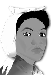 Ce dessin en noir et blanc représente Mary Bowser. Portant un tissu noué autour des cheveux, elle est habillée comme une servante, sa couverture d'espionne, et affiche un air grave et déterminé.