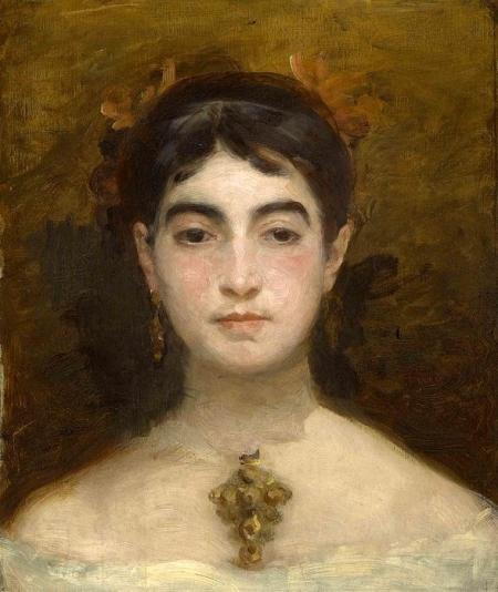 Cette peinture de Marie Bracquemond est un autoportrait qui la montre en buste. Peinte sur fond marron, elle porte un vêtement qui dévoile ses épaules, un pendentif, des boucles d'oreilles, et ses cheveux sombres retenus en chignon. Elle semble pensive.