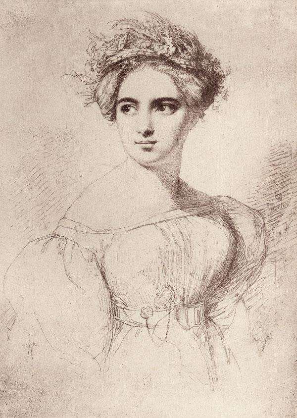 Ce portrait de Fanny Mendelssohn est un dessin au crayon réalisé par son mari, Wilhelm Hensel. Il représente la jeune femme vêtue d'une robe claire aux manches bouffantes, resserrée à la taille par une ceinture. Ses épaules et sa nuque sont dégagées et ses cheveux, en chignon, sont surmontés d'une couronne de fleurs.