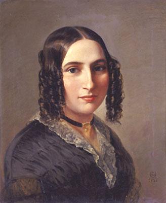 Ce portrait de Fanny Mendelssohn, réalisé par Moritz-Daniel Oppenheim, la montre en buste. Vêtue d'une robe bleue, elle porte un collier ras du cou et ses cheveux sombres sont coiffés en boucles anglaises.