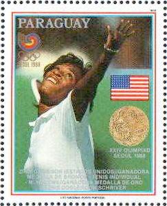 Cette image montre un timbre à l'effigie de Zina Garrison. Il représente la joueuse en train de servir.