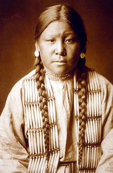 Cette photographie en buste montre une femme cheyenne présumée être Buffalo Calf Road Woman. Elle porte de longues tresses noires tombant sur sa tunique et des boucles d'oreille.
