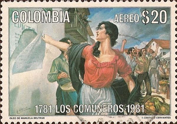 Ce timbre colombien représente le point de départ de la révolte des Comuneros en 1781. On y voit Manuela Beltra, portant un haut rouge et un foulard noir, arracher l'édit d'imposition espagnol. Derrière elle, on devine une foule revendicative.