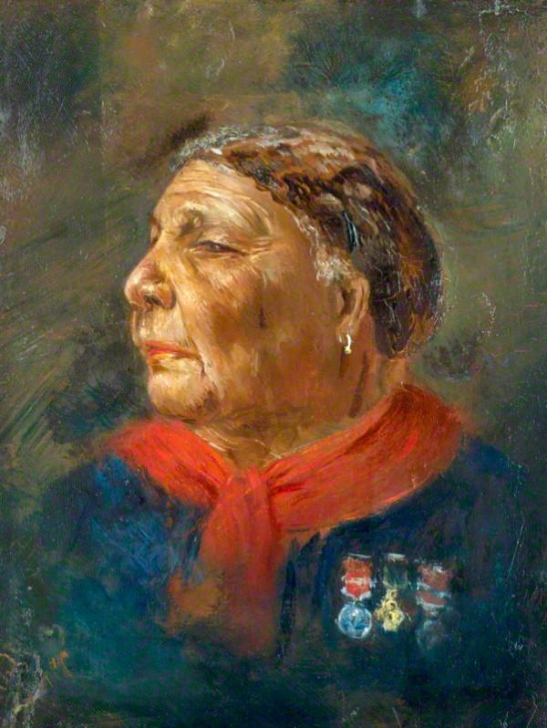 Ce tableau d'Albert Charles Challen, peint en 1869, représente Mary Seacole en buste. De profil, elle regard vers la gauche et porte un vêtement bleu et un foulard rouge très colorés. Sur sa poitrine, trois décorations militaires sont accrochées.
