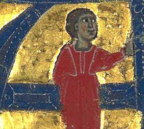 Cette enluminure représente Azalaïs de Porcairague. Elle porte une longue robe rouge.