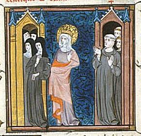 Cette enluminure montre Bathilde en habits de religieuse et avec une auréole. A gauche, on distingue un couvent avec quatre silhouettes de religieux, à droite un monastère avec trois moines.