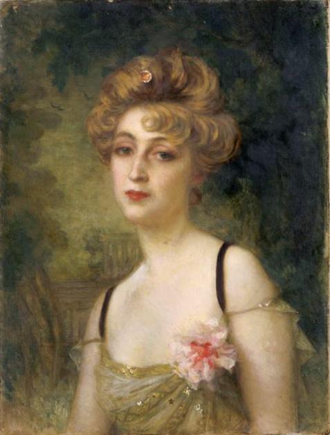 Cette image est un portrait peint de Rosemonde Gerard. Elle est montrée en buste, vêtue d'une robe légère avec des bretelles fines et une fleur au corsage. Ses cheveux clairs sont retenus dans une coiffure sophistiquée. Le portrait est d'Ernest Hébert