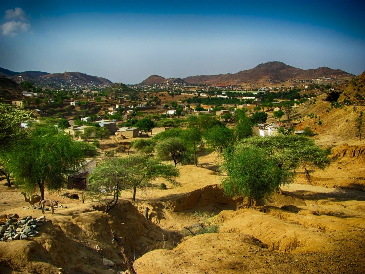 Cette photo montre un paysage de Ghinda en Erythrée : des collines de terre sèche et des maisons entre des arbres verts, sous un ciel bleu.