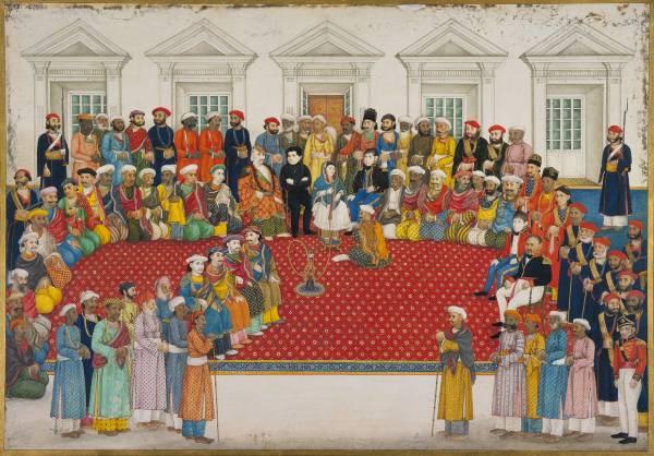 Ce dessin représente la Bégum Samru entourée d'un cour très nombreuses, de dizaines d'hommes indiens et européens. Certains sont assis, d'autres debout. Certains portent des habits moghols, d'autres sont en habits militaires.