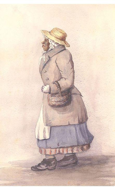 Ce dessin représente Rose Fortune en train de marcher dans la rue, un panier au bras. Elle porte un manteau gris-brun, un chapeau de paille, une jupe bleue et un jupon rouge, avec des chaussures noires.