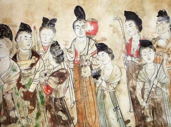 Dames de cour de la dynastie Tang - fresque issue de la sépulture de la princesse Yongtai (mausolée de Qianling)