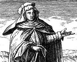 Cette image est un dessin en noir et blanc représentant l'alchimiste Marie la Juive portant une coiffe et un manteau.