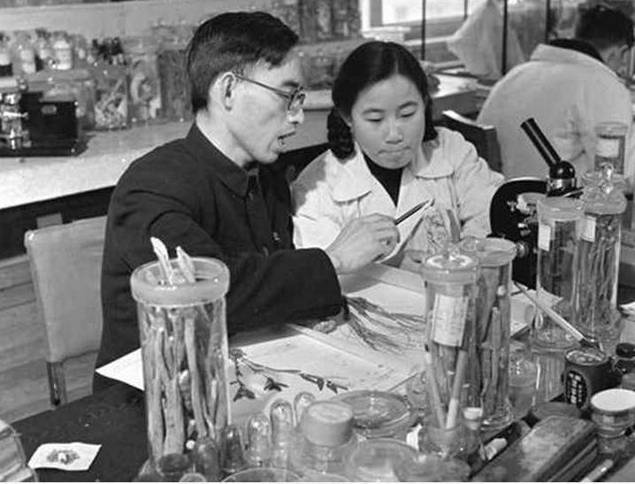 Cette photo en noir et blanc montre Tu Youyou en blouse blanche dans un laboratoire, entourée de matériel scientifique. Elle est assise à côté d'un autre scientifique qui lui montre quelque chose.