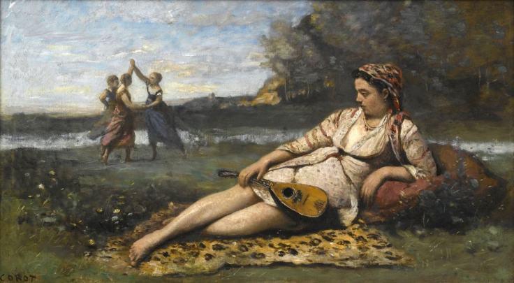 Ce tableau de Jean-Baptiste-Camille Corot, intitulé Jeunes filles de Sparte, représente au premier plan une jeune fille allongée sur une peau de bête tenant un instrument de musique. Elle regarde, en arrière plan, deux jeunes filles en robes colorées qui font la ronde et une troisième qui les regarde.