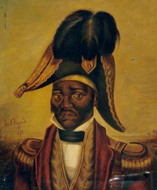 Cette image est un portrait peint de Jean-Jacques Dessalines, réalisé par Louis Rigaud. L'empereur y est représenté sur fond d'or en habits militaires.