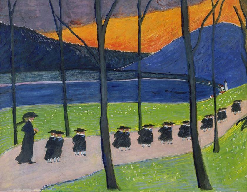 Ce tableau de Marianne von Werefkin, Automne, moontre une rangée d'écoliers sur un chemin dans un paysage de lac et de collines suisses. Une colline en arrière plan est de la couleur orange de l'automne. Au premier plan, on voit une rangée d'arbres sans feuilles.