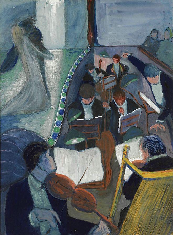 Ce tableau de Marianne von Werefkin (au théâtre) montre un orchestre en train de jouer, avec au premier plan un violoniste. A gauche du tableau, sur la scène, un couople s'embrasse. Sur la droite du tableau, on discerne deux spectateurs.