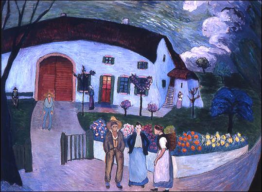 Ce tableau de Marianne von Werefkin, la famille, montre une maison de nuit devant laquelle trois personnes, un homme et deux femmes, semblent discuter. A l'arrière plan, un homme et une femme tenant un bébé semblent attendre devant la maison.