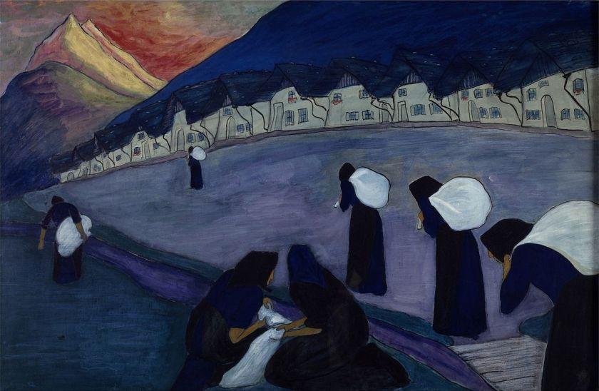 Ce taleau de Marianne von Werefkin, les femmes en noir, montre sept femmes vêtues de longues robes et de voiles sombres. Elles portent des baluchons blancs et semblent ployer sous leur poids, marchant un peu courbées dans une vaste rue le long d'une rangée de maisons.