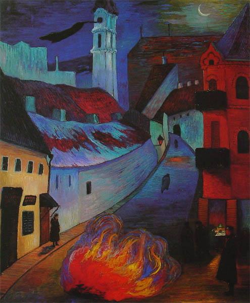 Ce tableau de Marianne von Werefkin, sentinelle de police à Vilna, montre une rue de la ville de Vilna de nuit. Au premier plan, un feu brûle au milieu de la rue. Plusieurs silhouettes observent ou s'éloignent. A droite, la silhouette d'une sentinelle de police.