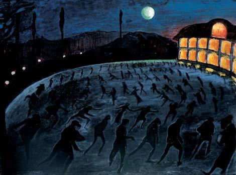 Ce tableau de Marianne von Werefkin, Patineurs, montre une patinoire de nuit. Sombre, la patinoire est couverte de silhouettes en train de patiner. La patinoire est surplombée d'un ciel bleu nuit dans lequel luit une lune pleine. A droite, un bâtiment illuminé tranche avec l'obscurité du tableau.