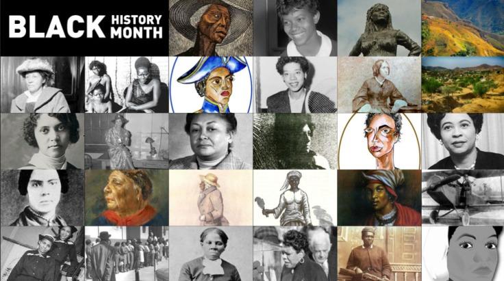 Cette image montre 28 portraits de femmes noires, qui seront présentées chaque jour tout au long du mois de février 2019 (au cours duquel est célébré, comme tous les ans, le Black History Month).