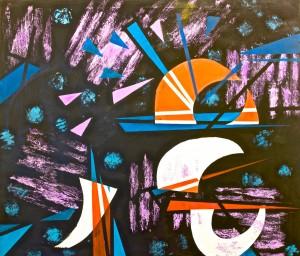 Cette image est le tableau Boat promenade (1992) de Bertina Lopes.