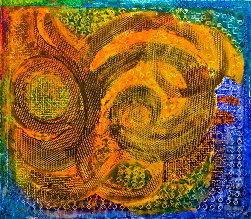 Ce tableau Dreaming with my childhood de Bertina Lopes est dans les tons or, orange et bleu.