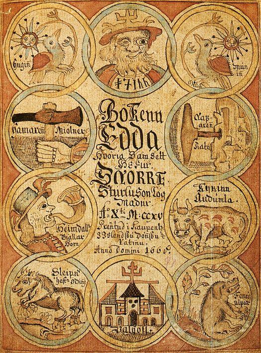 Cette image montre le frontispice d'un manuscrit médiéval des Eddas, montrant Odin, Heimdallr, Sleipnir et d'autres figures de la mythologie nordique