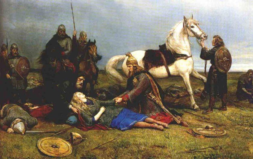 La mort d'Hervor - par Peter-Nicolai Arbo. Ce tableau représente la mort de la guerrière viking légendaire Hervor. Elle est allongée au sol, sa tête aux long cheveux blonds reposant sur les genoux d'un homme en noir. Un autre homme, agenouillé à ses côtés, lui tient la main. Derrière lui se tient un cheval blanc sellé. En arrière plan, deux hommes sur des chevaux observent la scène.