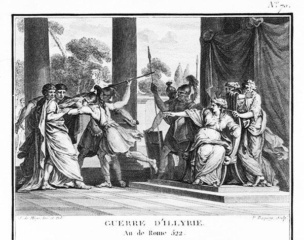 Cette gravure montre la reine Teuta d'Illyrie ordonnant que les ambassadeurs romains soient tués.