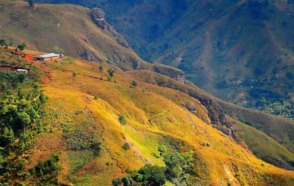 Cette image est une photo de paysages de collines d'Haïti