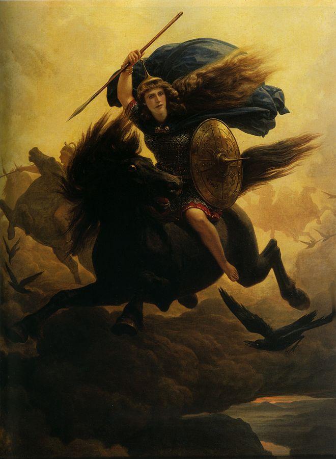 Valkyrie - par Peter-Nicolai Arbo. Ce tableau montre une valkyrie, une guerrière viking montée sur un cheval sombre en pleine course dans les nuages. Cheveux flottants au vent, elle porte une cape bleue volant au vent et tient une lance et un bouclier rond.