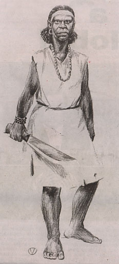 Ce dessin montre Carlota Lucumi armée d'une machette. Elle est armée, vêtue d'une robe blanche jusqu'aux genoux. Pieds nus, elle porte une ceinture, un long collier, des boucles d'oreille, un bracelet et un bandeau dans les cheveux.