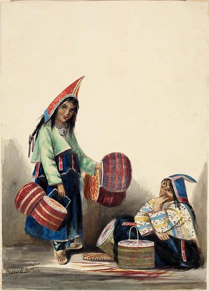 Ce dessin représente deux femmes mi'kmaques, l'une debout et l'une assise. Elles portent des costumes traditionnels, avec des robes bleues et des bonnets rouges. Celle qui est debout porte quatre paniers teintés de rouge ; deux autres paniers sont posés devant la femme assise.