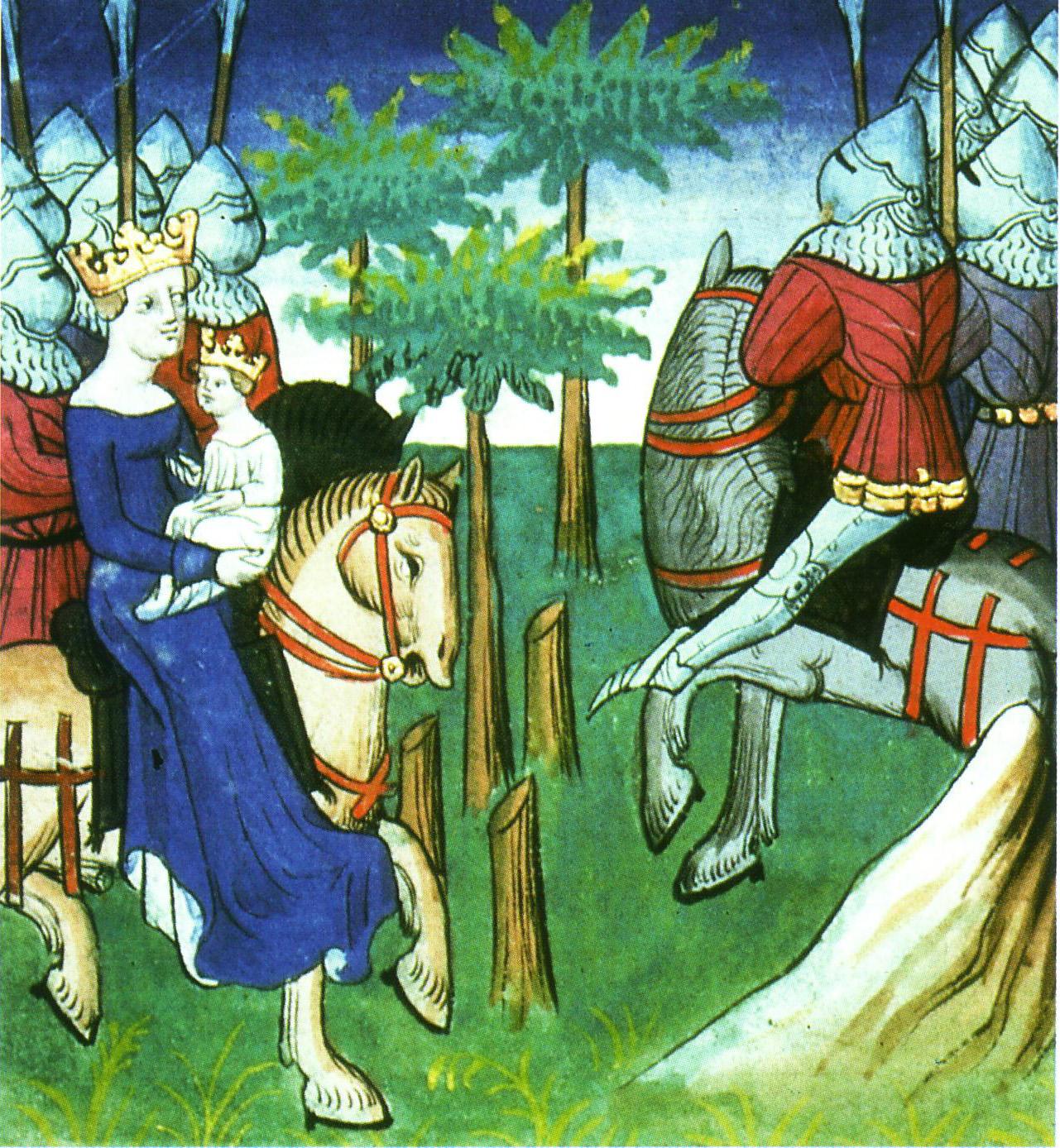 Cette illustration montre, à gauche, la reine Frédégonde juchée à cheval, son fils en bas âge sur ses genoux. Elle est suivie par une demi-douzaine d'hommes à cheval en arme et armures. Face à eux, les soldats également à cheval de l'armée de Childebert II.