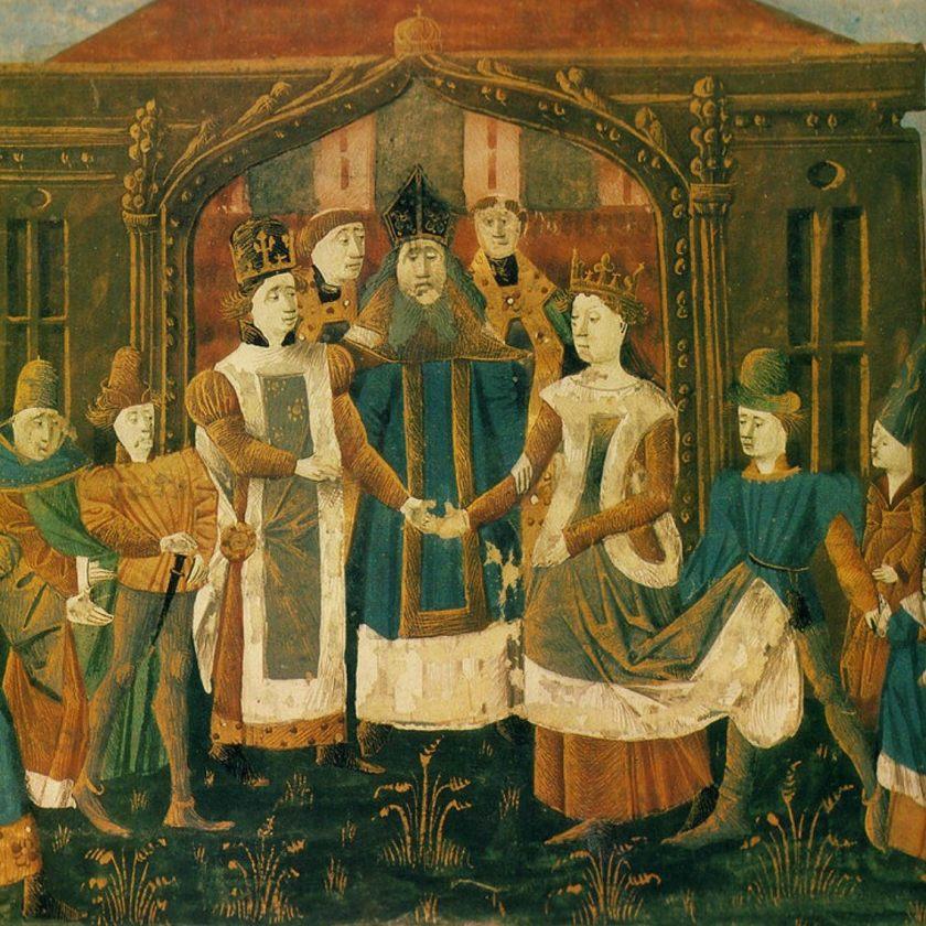 Cette miniature montre le mariage de Sigebert Ier et Brunehaut. Couronnés, ils sont entourés de plusieurs personnes et se tiennent debout devant le prêtre qui les unit, se donnant la main.