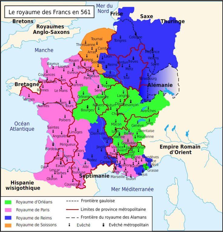 Cette image montre le partage des terres du royaume franc en 561.