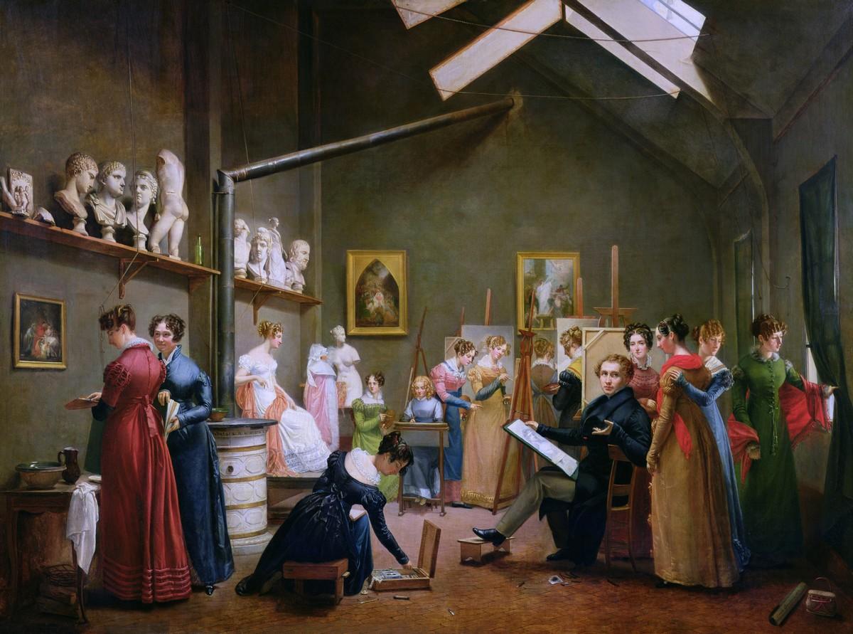Le studio d'Abel de Pujol, par Adrienne Grandpierre-Deverzy. Le tableau représente le peintre conseillant ses élèves féminines dans son atelier. Assis, il regarde un dessin. Autour, une douzaine de femmes l'entourent ou s'affairent à peindre, à poser ou à observer.