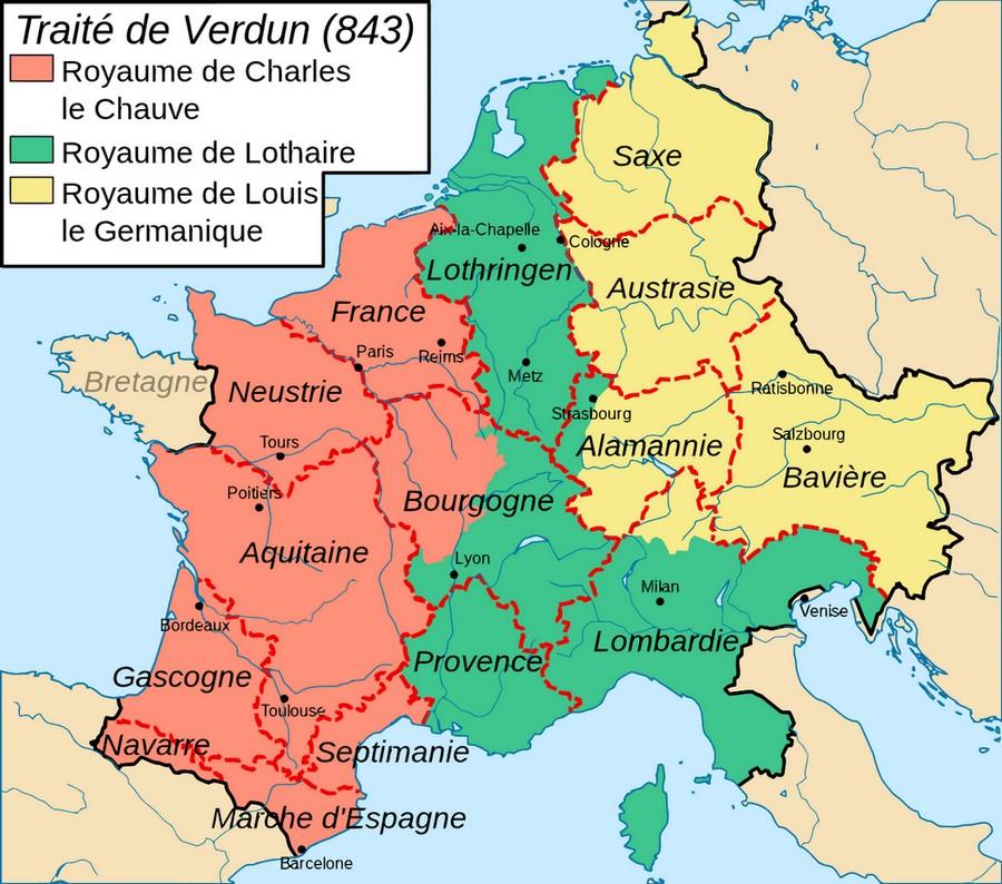 Ce plan montre le partage des terres de l'empire carolingien par le traité de Verdun en 843, entre Charles le Chauve, Lothaire et Louis le Germanique.