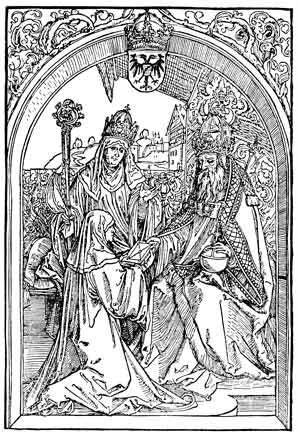 Cette gravure en noir et blanc montre Hrotsvita de Gandersheim en habits de religieuse, agenouillée devant l'empereur du saint empire germanique Otton Ier à qui elle présente ses oeuvres.
