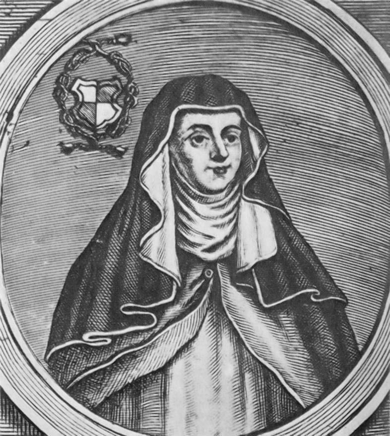 Cette gravure en noir et blanc représente Hrotsvita de Gandersheim en habits de religieuse.